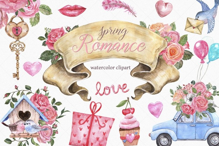 Watercolor Valentines Day Spring Wedding Roses Clipart