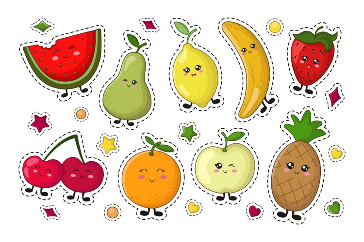 Kawaii Fruit and Vegetables - stickers example image 1