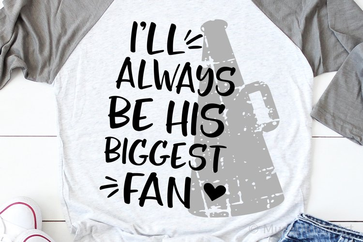 Football Mom Svg, Cheer Mom Svg, Always Be His Biggest Fan example image 1