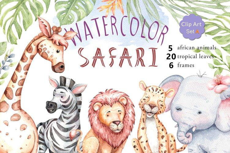 Watercolor safari animals and jungle element images.