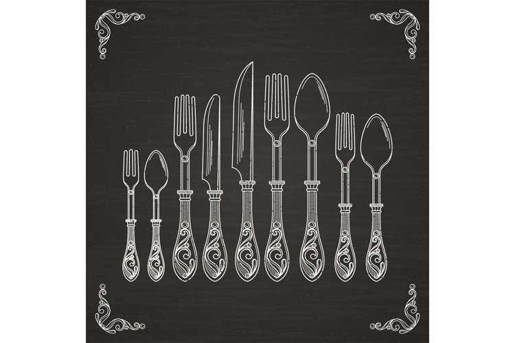 Vector pictures of spoon, fork and knife. Tableware hand dra example image 1