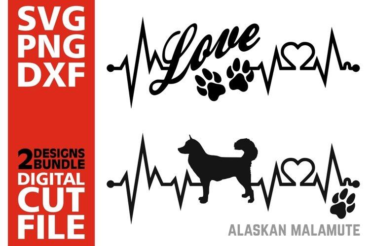 2x Alaskan Malamute Bundle svg, Dog svg, EKG svg, Love svg example image 1