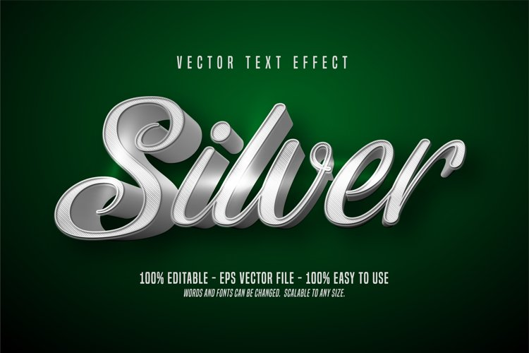 Silver editable text effect example image 1