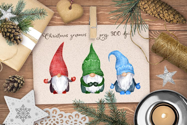 Christmas gnomes PNG watercolor bundle example image 1