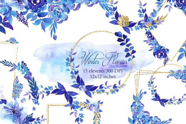 Winter roses wreaths and frames,Watercolor Flowers Clipart example image 1