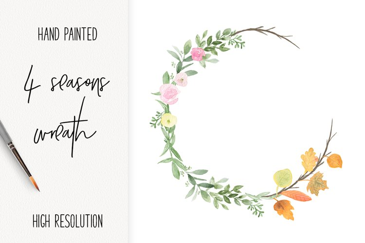 Seasonal watercolor wreath PNG clip art