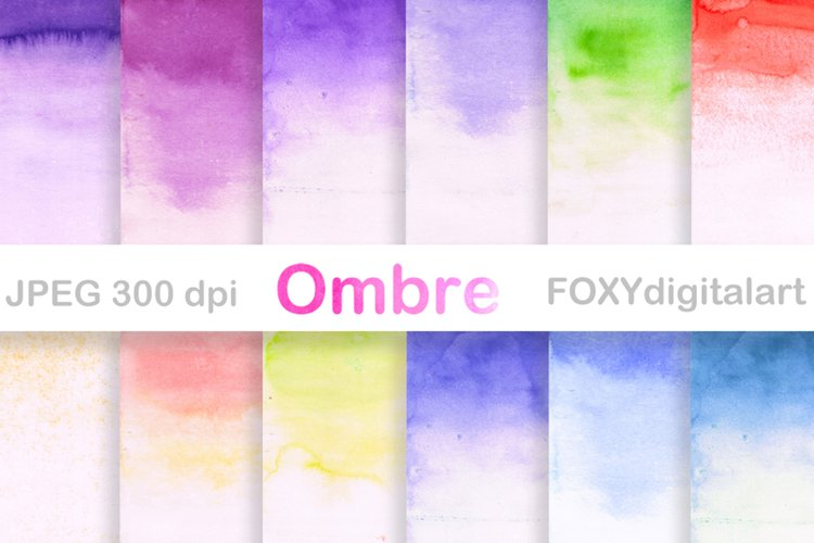 Ombre Watercolor Backgrounds Ombre Digital Paper example image 1