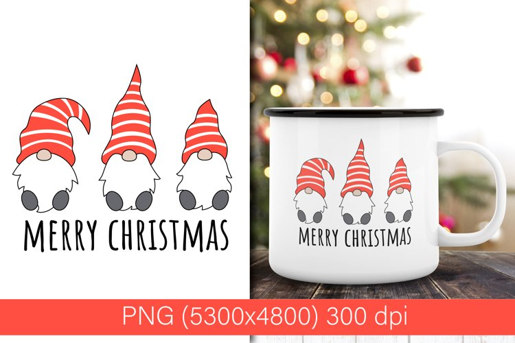 Three Christmas gnomes PNG  sublimation design example image 1