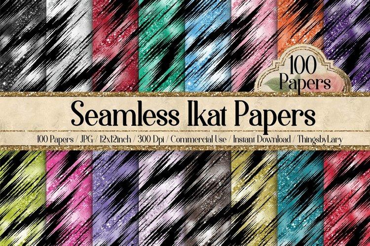 100 Seamless Glitter Ikat Tie Dye Pattern Digital Papers example image 1