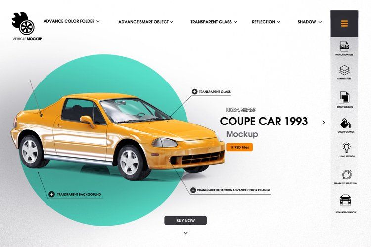 Coupe car 1993 mockup