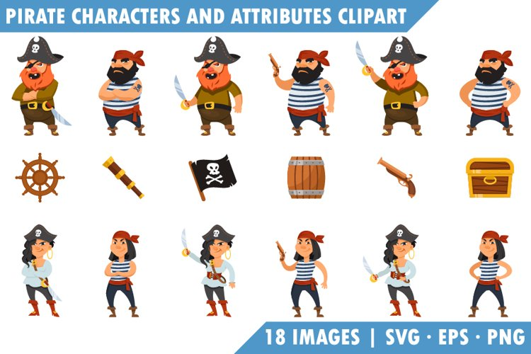 Pirates and attributes Clipart set.