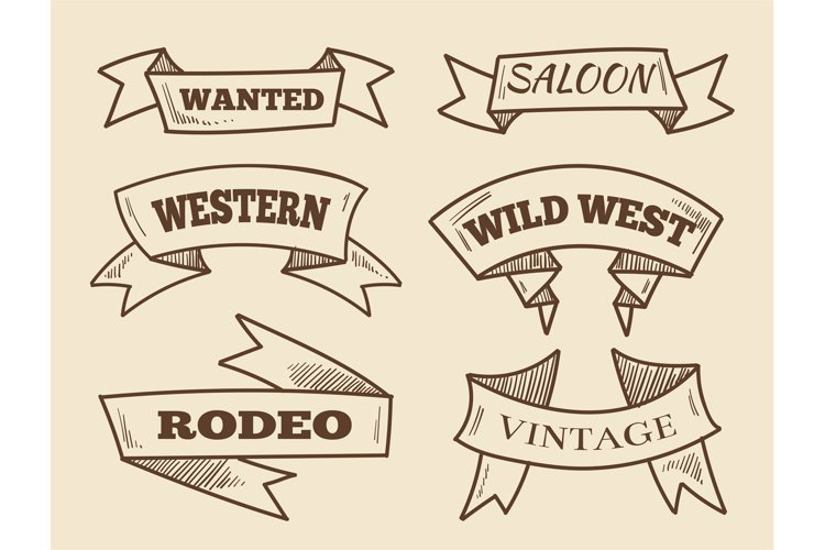 Hand drawn western ribbons. Vintage design elements example image 1