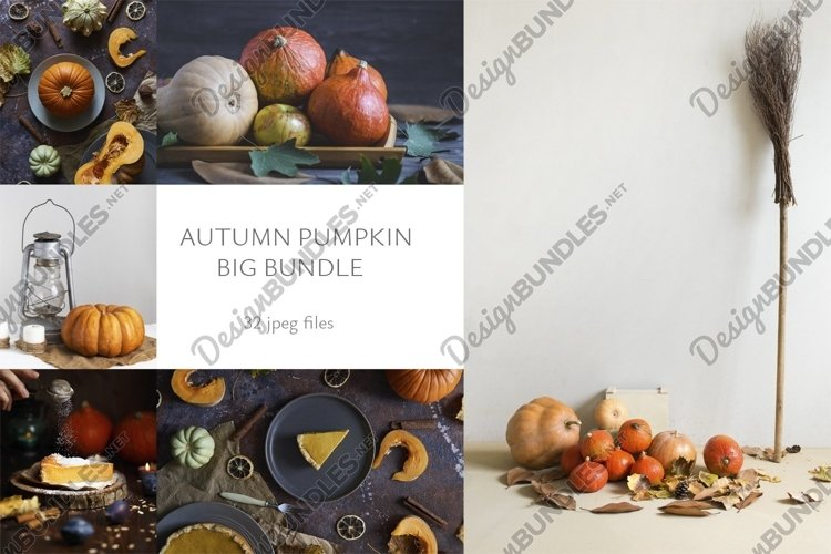 Set of autumn pumpkin food background