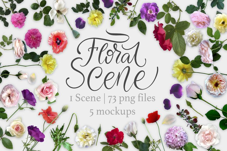 Floral Scene Creator 5 Mock Ups. example image 1