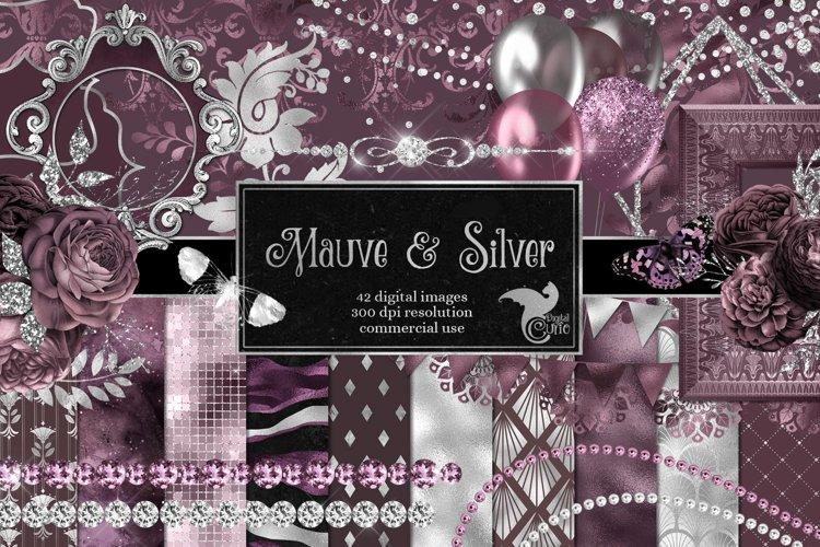 Mauve and Silver Digital Scrapbook Kit