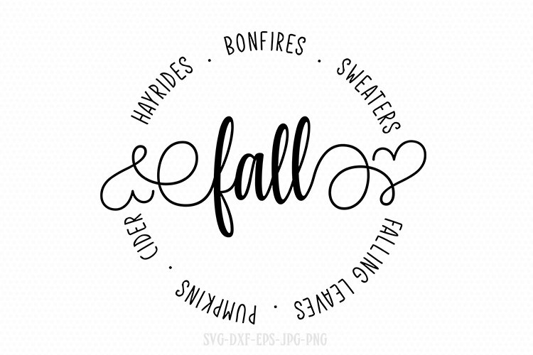 Hayrides, Bonfires, Sweaters SVG, Fall Circle SVG, fall svg example image 1