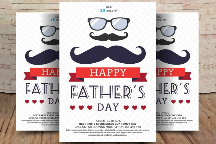 Best Dad Happy Fathers Day Flyer example image 1