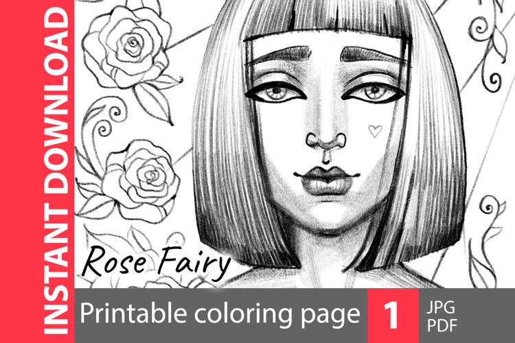 Rose fairy - coloring page example image 1