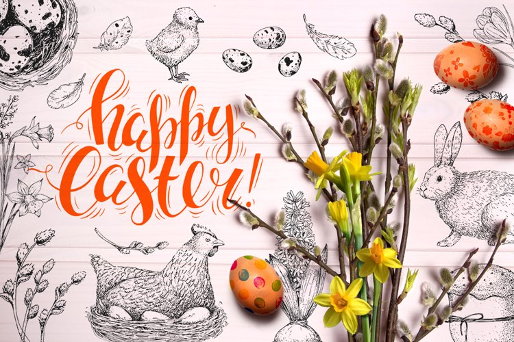 Hand drawn Easter set elements