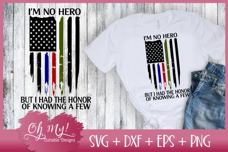 Distressed Flag - Im No Hero - SVG DXF EPS PNG Cutting File
