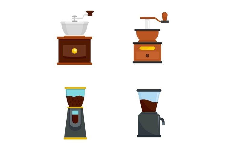 Coffee grinder icon set, flat style example image 1