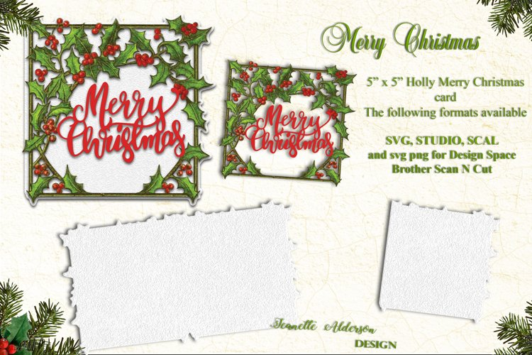 Holly Merry Christmas Card cutting file example image 1