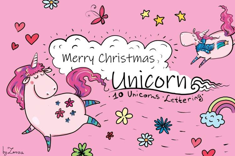 Merry Christmas Unicorn - clip-art example image 1