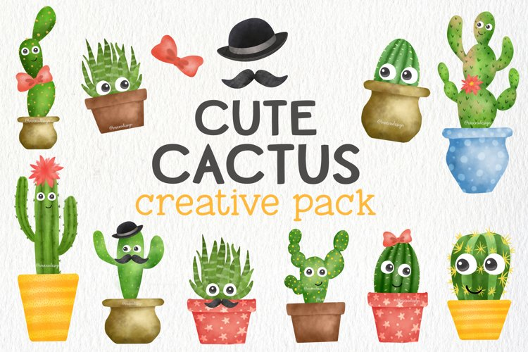 Cute Watercolor Cactus Creative Pack - Cactus Illustration example image 1