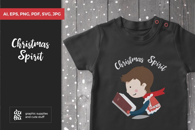 Christmas SVG Cut Files, Winter Anniversary with Kid Reading example image 1
