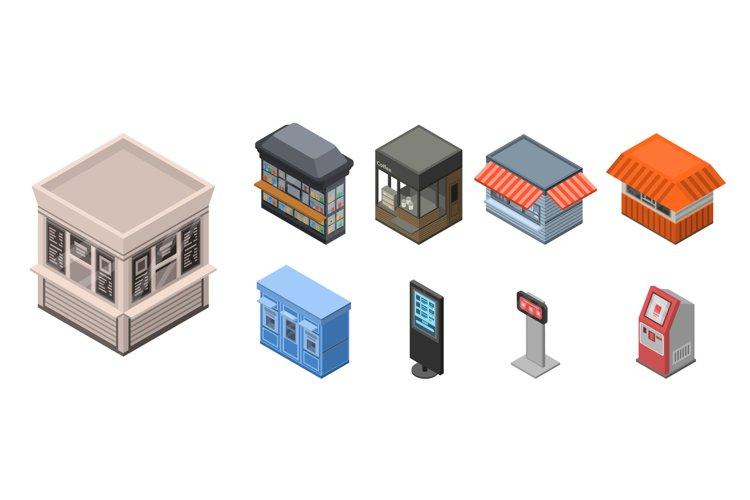 Street shop kiosk icon set, isometric style example image 1