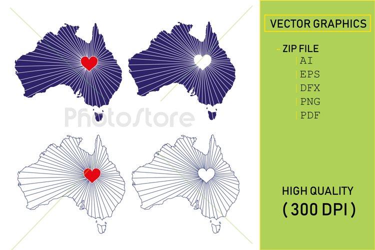 I Love Australia, Country Map Silhouette