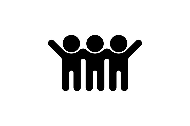 Friends is hugging icon. Friendship concept. Vector example image 1