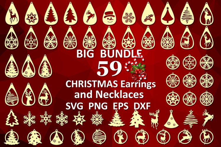 59 Christmas earrings svg Leather earrings svg Necklace svg example image 1