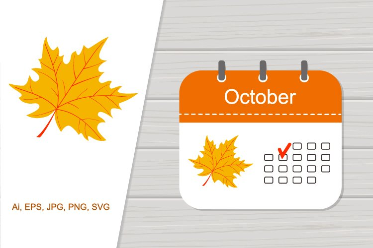 Icon calendar October with pattern example image 1