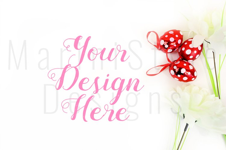 Spring Easter Mockup, White Background with Easter eggs 456