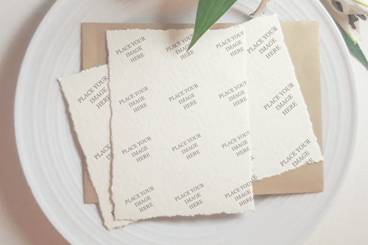 Photorealistic hand made paper mockup, flat lay template. example