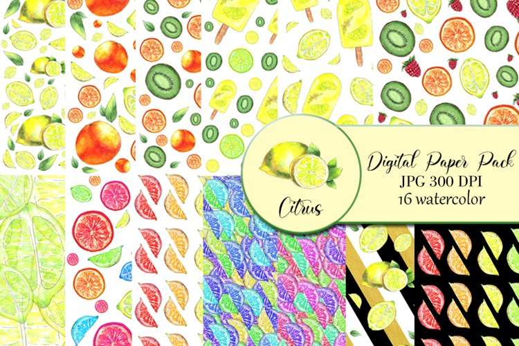 Citrus Digital Paper, papers 16 summer seamless patter example image 1