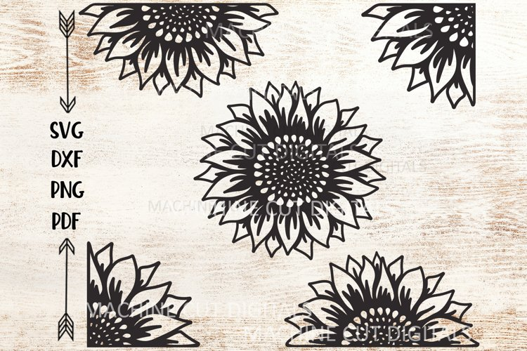Set of Sunflowers svg dxf cut out cricut laser cut templates example image 1