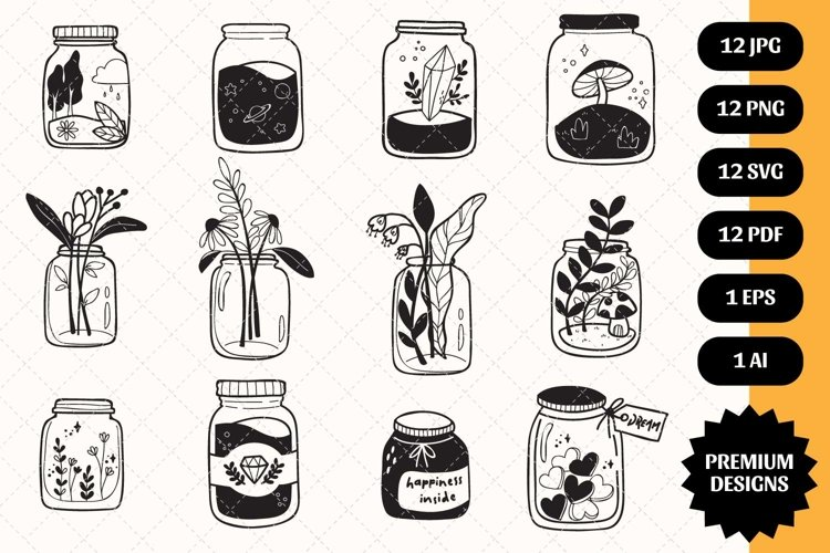 Mason Jar bundle SVG 12 designs Silhouette Clipart