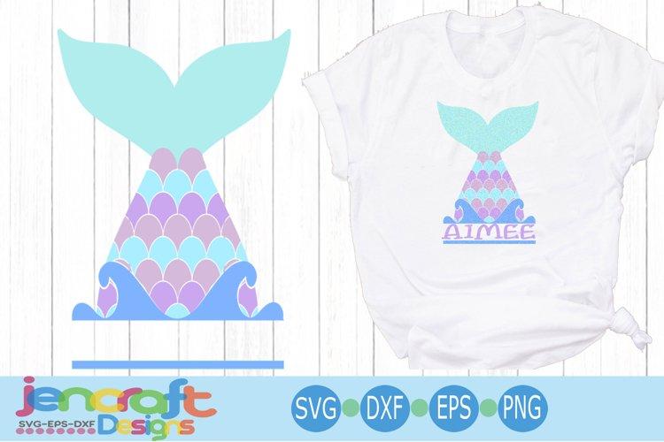 Mermaid Tail Split Monogram Frame svg, Eps, Dxf, Png