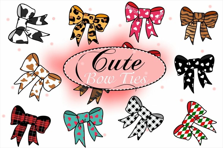 Cute Bow Ties, Hair Bow Clipart, Sublimation Bows example image 1
