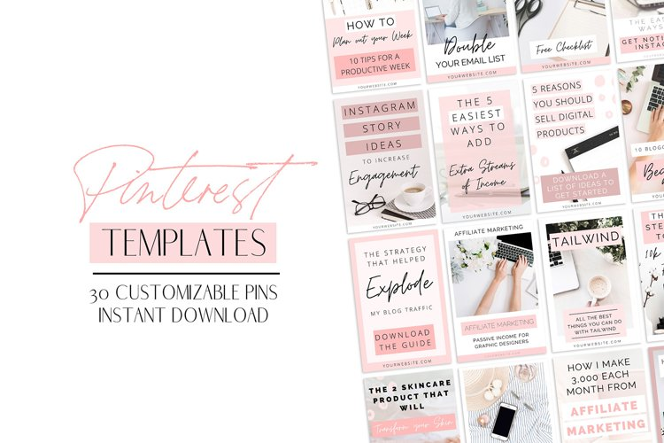 Pink Pinterest Templates for Canva example image 1