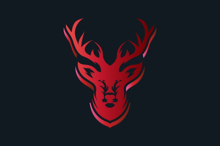 Red deer face vector logo template - Eps 10 example image 1