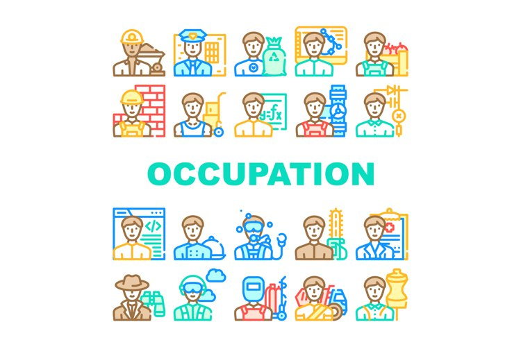 Male Occupation Job Collection Icons Set Vector example image 1