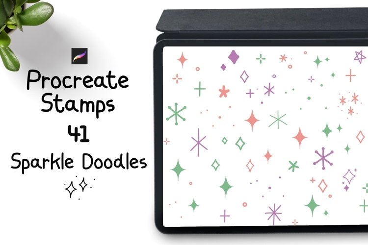 Procreate Stamps 41 Sparkles doodles example image 1