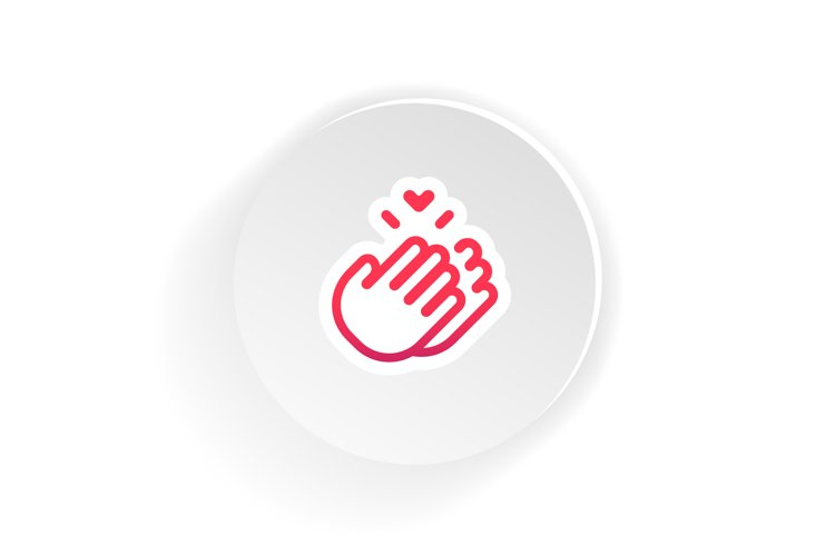 Clapping Hands icon. Thank you sign mockup, sticker template example image 1