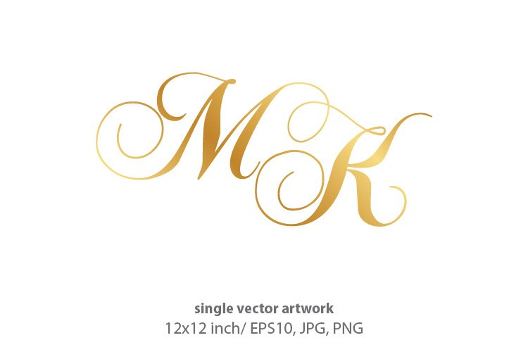 Calligraphic golden monogram letters M and K example image 1