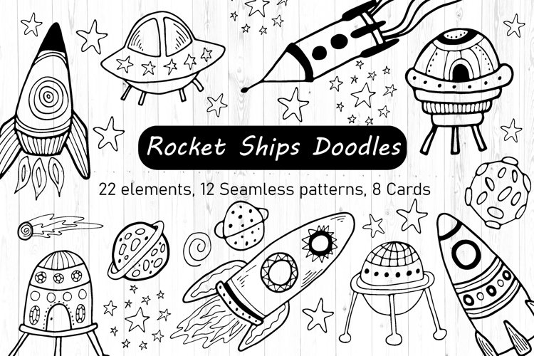 Rocket Ship Clipart and Digital Paper - Outer Space Line Art