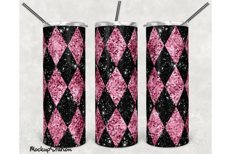 Argyle 20oz Skinny Tumbler Design PNG | Pink Glitter