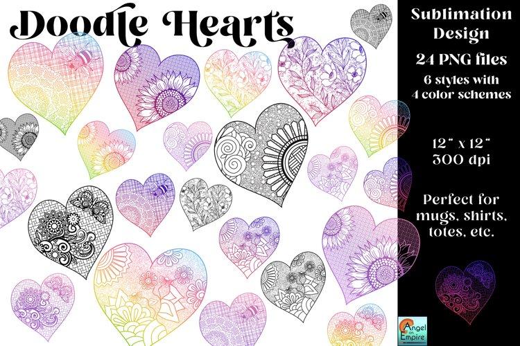 24 Doodle Hearts clipart set, sublimation, PNG files